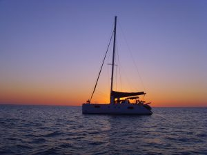 BVI  catamaran at sunset