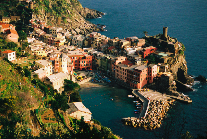 Italian riviera coastal village and small boat harbor