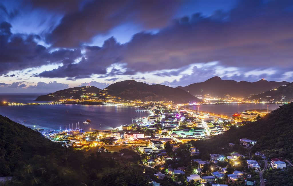 St. Martin main island city at night