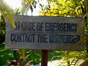 In case of emergency contact the bartender