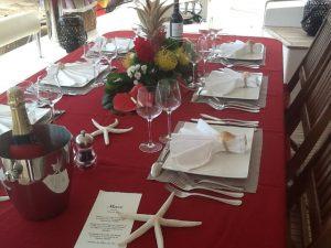 Caribbean Catamaran Aft Deck Dining