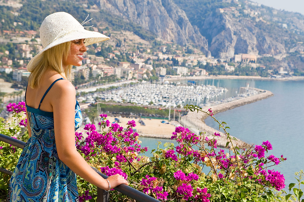 Girl sightseeing in French Riviera