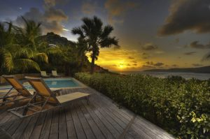 Anguilla beach house at sunset