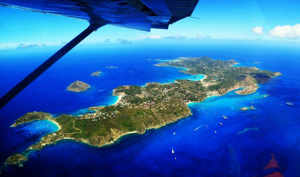 Leeward islands from the air: Anguilla, St. Barths and Dominica