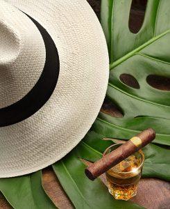 Cuban cigar and hat