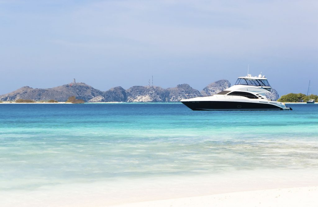 Motor yacht in the caribbean