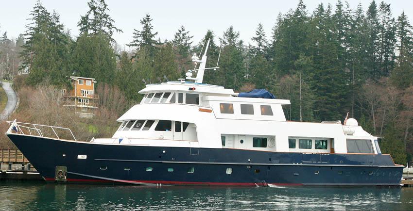 The large power yacht KAYANA docked in Juneau Alaska.