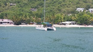 BVI catamaran anchored