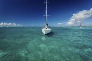 sailboat at anchor in BVI