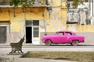 car Street scene in  Cuba