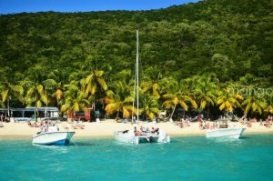 boats on british virgin island beach